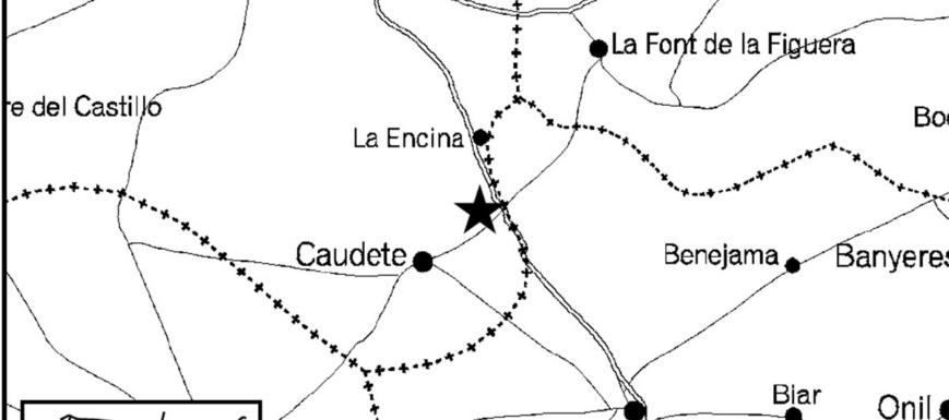Plano del seísmo que se ha hecho notar sobre todo en Caudete