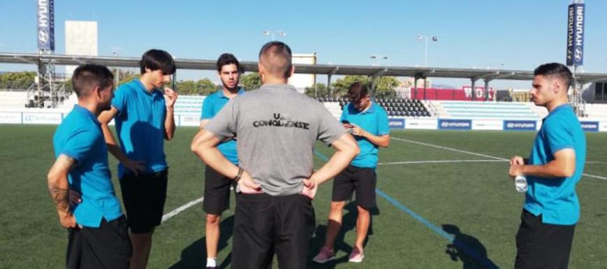 La plantilla de la UB Conquense, antes de enfrentarse al Atlético Baleares