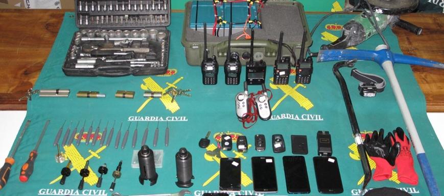 Material incautado por la Policía a los aluniceros que robaban en Madrid y Guadalajara