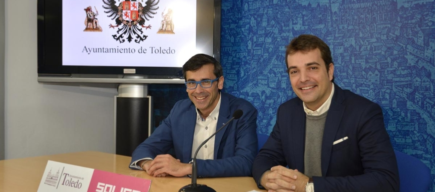 Sánchez Butragueño y Pablo García, durante la presentación de la exhibición de la Copa del Mundo en Toledo